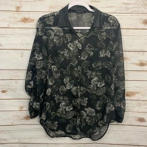 Rock & Republic Sheer Floral Faux Leather Blouse